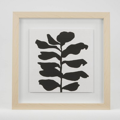 "(Set of 2)12"" x 12"" Leafy Stalk & Growing Light Wood Shadow Box Framed Under Glass with Floating Print - Project 62™"