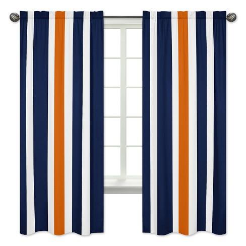 Navy Orange Stripe Curtain Panels, Panel Curtain Pattern