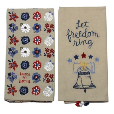 "Tabletop 26.0"" Liberty Bell Dish Towel Freedom Stars American Primitives By Kathy  -  Kitchen Towel"