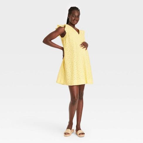 The Nines by HATCH™ Flutter Short Sleeve Eyelet Maternity Dress - image 1 of 3