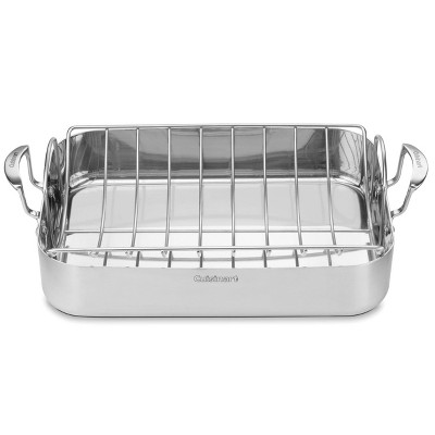 "Cuisinart MultiClad Pro 16"" Tri-Ply Stainless Steel Roasting Pan & Stainless Rack - MCP117-16BR"