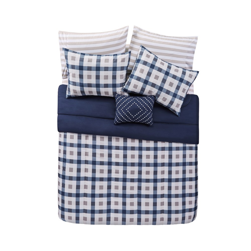 Twin XL 6pc Belmar Bed in a Bag Set Navy/Gray/White - Vcny Home, Blue