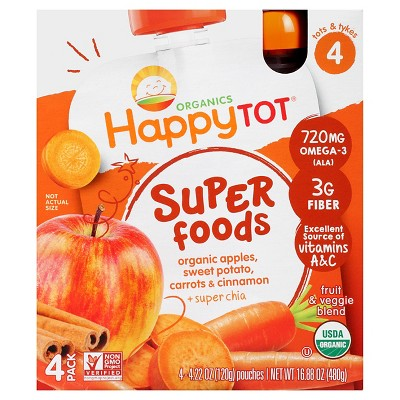 Happy Tot Spinach Apple Carrot 4pk