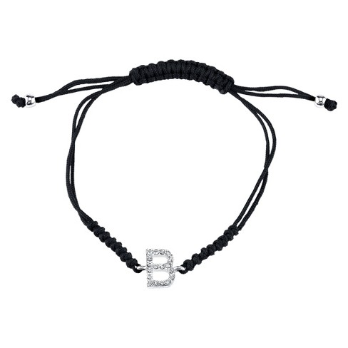 Silver Plated Crystal Wrap Bracelet with Initial B - Black Nylon Cord - image 1 of 1