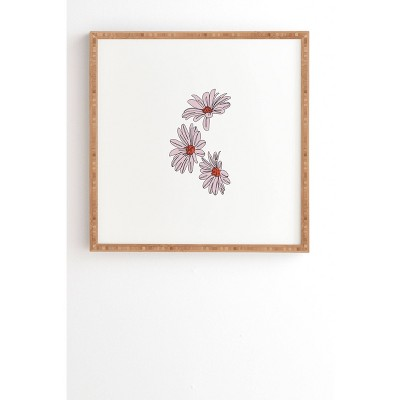 """20"""" x 20"""" The Colour Study Daisy Illustration Floral Framed Wall Art Pink - Deny Designs"""