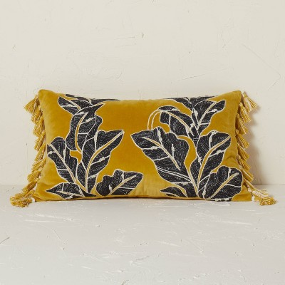 Embroidered Botanical Leaf Velvet Lumbar Throw Pillow Gold - Opalhouse™ designed with Jungalow™