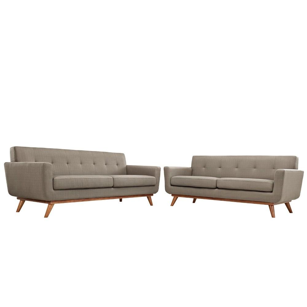 Engage Loveseat and Sofa Set of 2 Granite - Modway