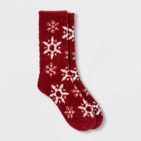Women's Snowflake Cozy Crew Socks - A New Day™ 4-10 - image 1 of 2