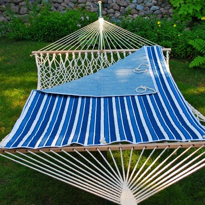 Outdoor Quilted Reversible Hammock Pad Blue Stripe/Blue