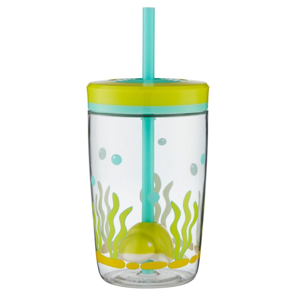 Image of Bueno Plastic Floating Straw Tumbler 16oz - Green Turtle, Green/Turtle