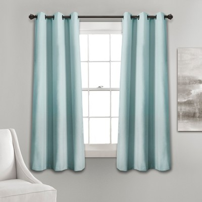 "63""x38"" Absolute Blackout Window Curtain Panels Blue - Lush Décor"