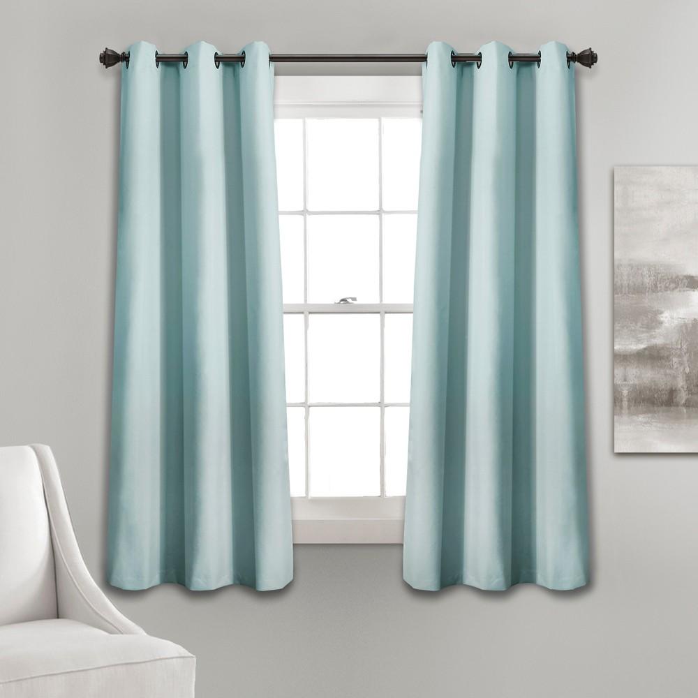 Set of 2 (63x38) Absolute Blackout Window Curtain Panels Blue - Lush Décor Reviews