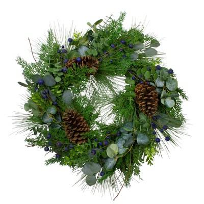"Northlight Blueberry Eucalyptus Pine Artificial Christmas Wreath, 28"" Unlit"