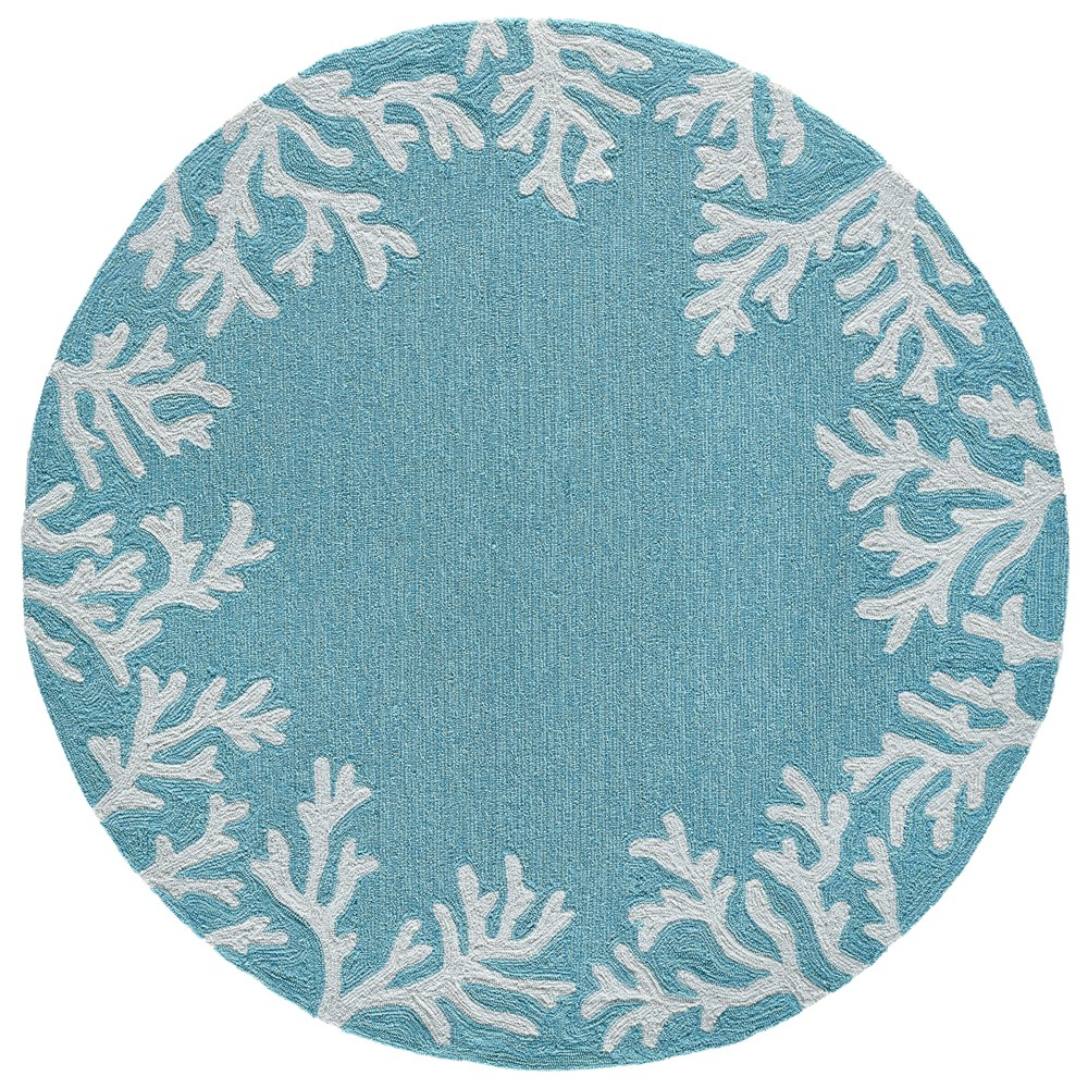 5' Coral Branch Round Area Rug Aqua (Blue) - Liora Manne