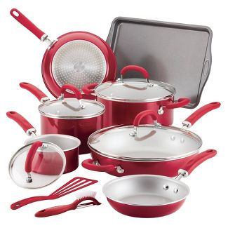Rachael Ray Create Delicious 13pc Aluminum Nonstick Cookware Set Red