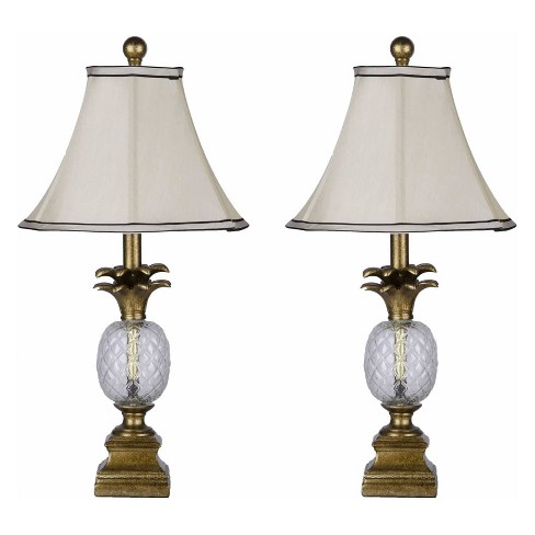 Abbyson Living Set of 2 Antique Pineapple Table Lamps Gold - image 1 of 3