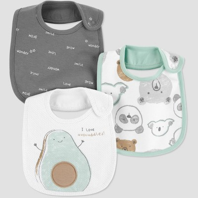 Baby 3pk Avocado Bib - Just One You® made by carter's Gray/Green One Size
