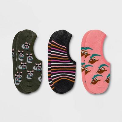 Women's Tropical Critters 3pk Liner Socks - Xhilaration™ Pink/Gray/Green 4-10