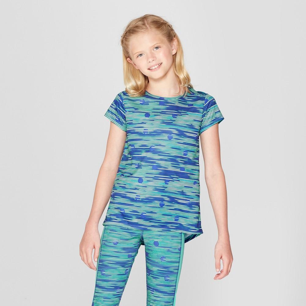 Girls' Printed Tech T-Shirt - C9 Champion Blue Dot Spacedye Print S