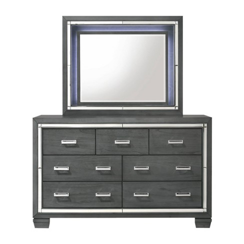 7 Drawer Kenzie Dresser with Mirror Set Gray - Picket House Furnishings - image 1 of 4