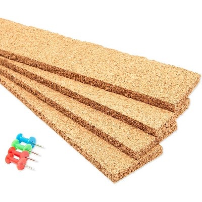 """Bright Creations 4 Pieces Cork Bulletin Bar Strip 1.6"""" x 16.8"""" with 4 Push Pins for Office, School, Home Décor"""