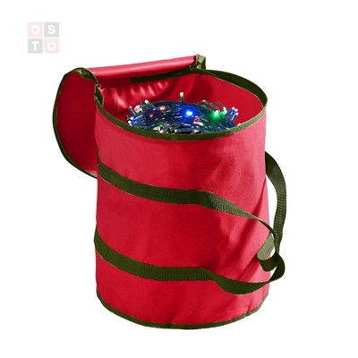 OSTO Christmas Strip Light Storage Bag with 3 Cardboard Wraps, Non-Woven Fabric, Has Dual-Zippered Cover, and Carry Handles