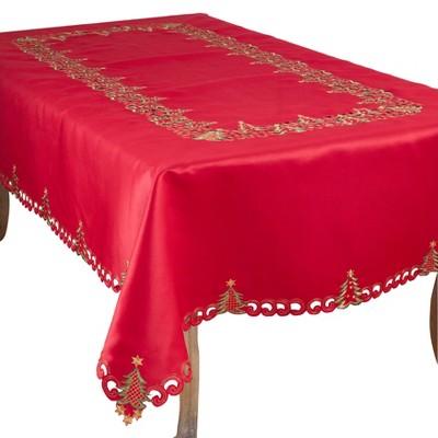 Saro Lifestyle Nostalgic Holiday Christmas Tree Tablecloth