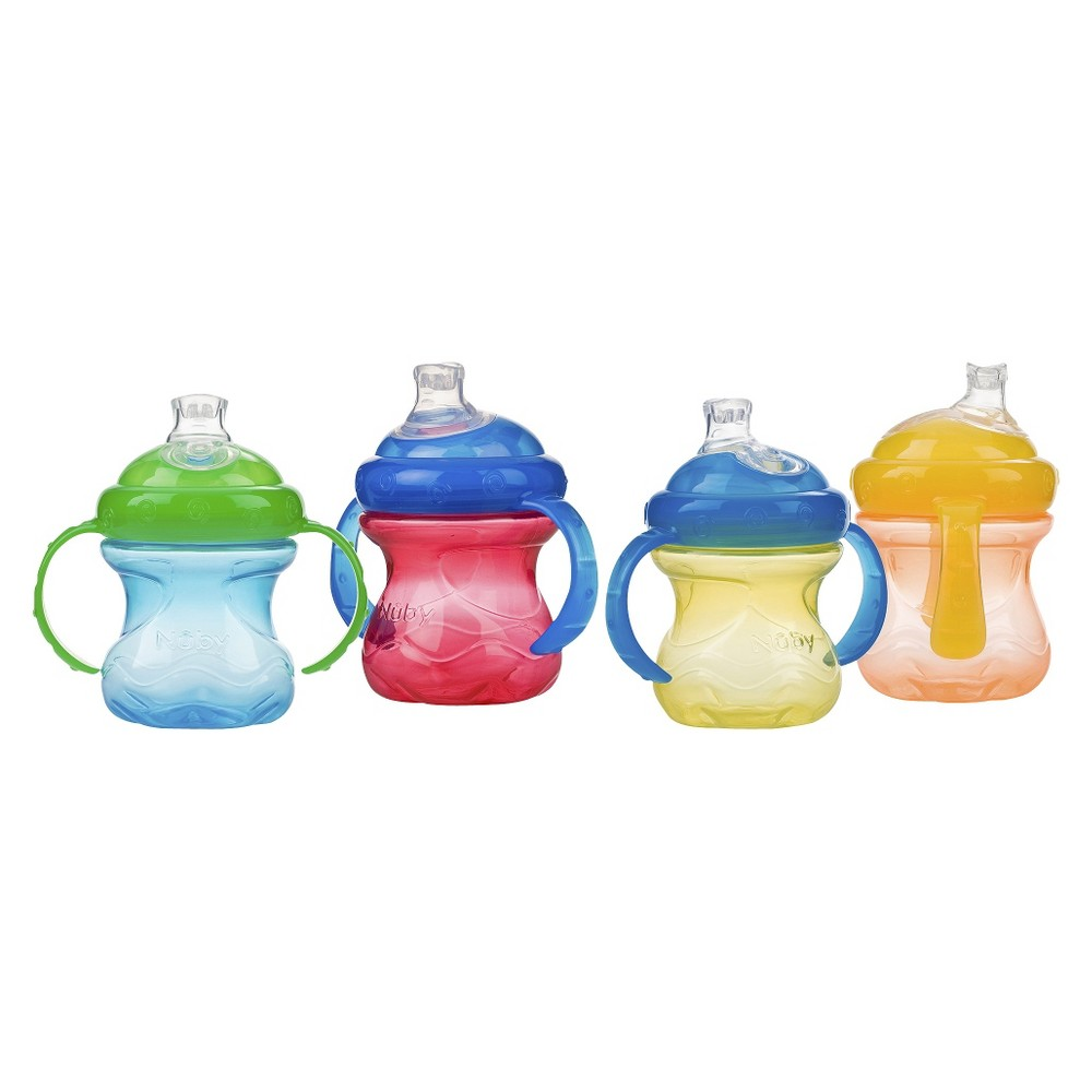 Image of Nuby No-Spill Super Spout 2 Handle Cup - Boy (4 pack)