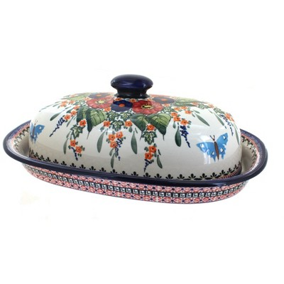 Blue Rose Polish Pottery Floral Butterfly Bread Container