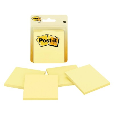 "Post-it Notes 4pk 3"" x 3"" 50 Sheets/Pad - Canary Yellow"