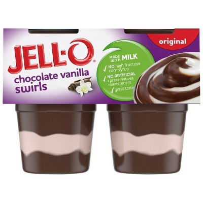 JELL-O Original Chocolate Vanilla Swirls Pudding - 15.5oz/4ct