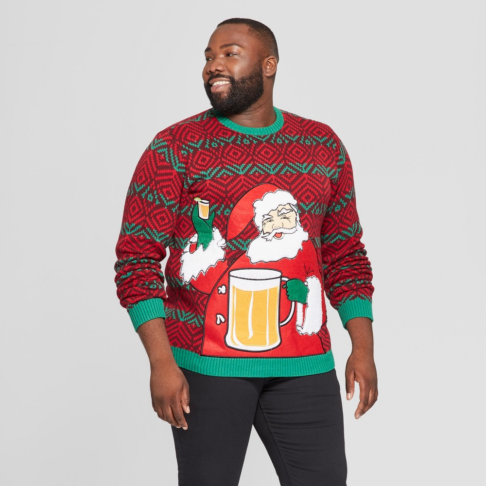 33 Degrees Men's Tall Ugly Holiday Christmas Santa Beverage Holder Long Sleeve Pullover Sweater - Red MT