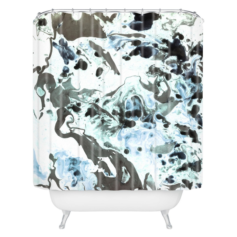 Image of Abstract Shapes Shower Curtain Blue - Deny Designs