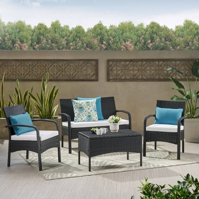 4pc Patio Chat Set - Black - Christopher Knight Home