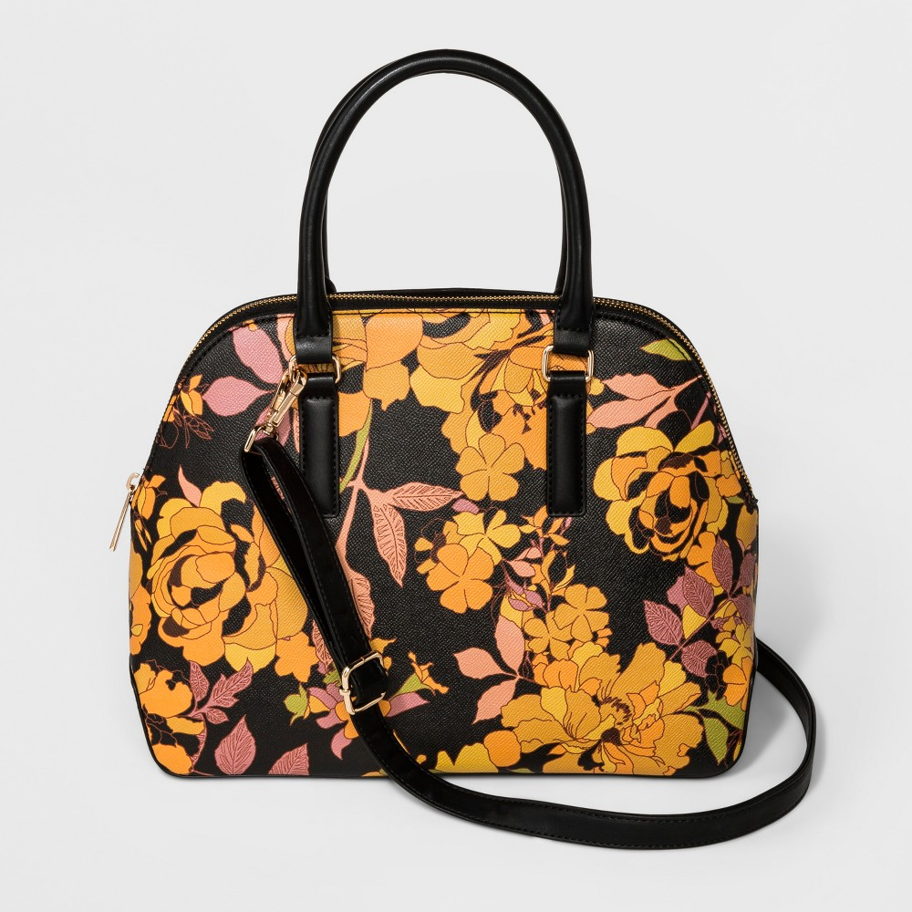 Triple Compartment Dome Satchel Handbag - A New Day Mustard/Black (Yellow/Black), Women's