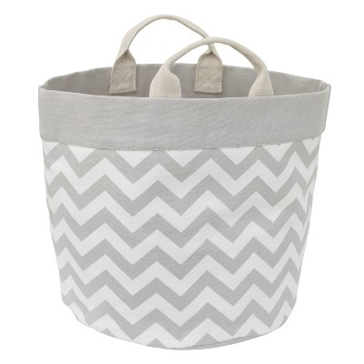 NoJo Little Love Canvas Reversible Storage Tote with Handles - Gray/White Chevron