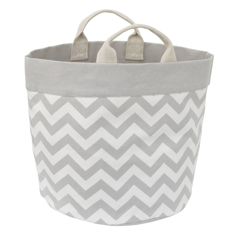 Image of NoJo Little Love Canvas Reversible Storage Tote with Handles - Gray/White Chevron