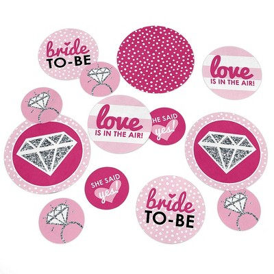 Big Dot of Happiness Bride-To-Be - Bridal Shower & Bachelorette Party Giant Circle Confetti - Classy Bachelorette Party Décor - Large Confetti 27 Ct