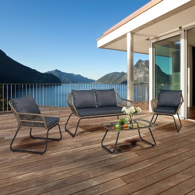 Lugano 4pc Rattan Wicker Outdoor Patio Sofa Seating Set with Cushions - Natural/Gray - DUKAP