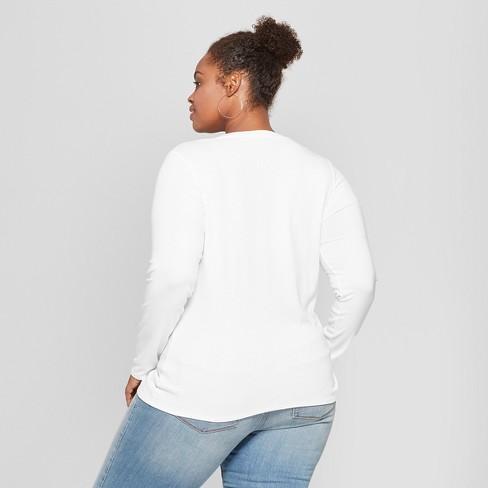 0e1f9aece96 Women s Plus Size Long Sleeve V-Neck T-Shirt - Ava   Viv™   Target