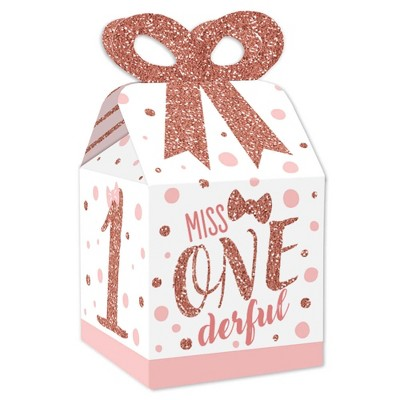 Big Dot of Happiness 1st Birthday Little Miss Onederful - Square Favor Gift Boxes - Girl First Birthday Party Bow Boxes - Set of 12