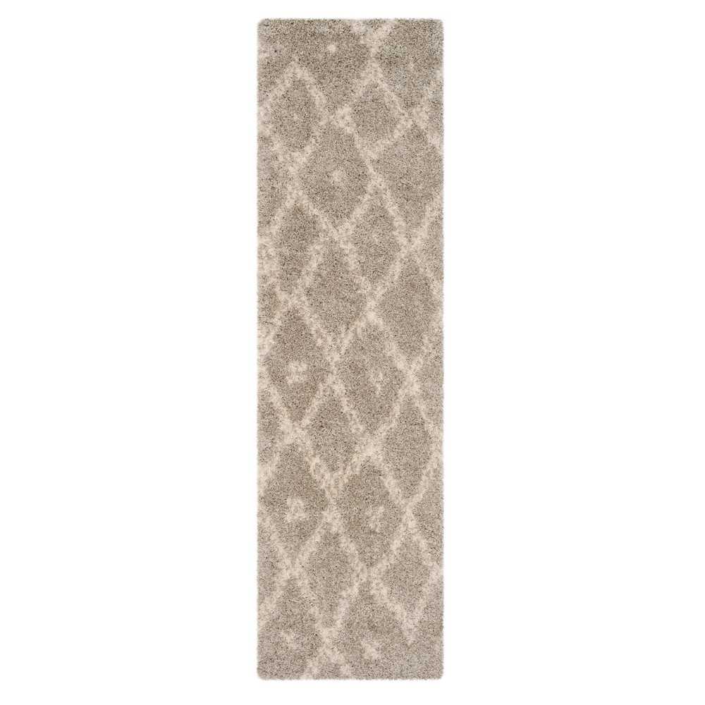 Gray/Ivory Geometric Loomed Runner 2'3X8' - Safavieh, Beige