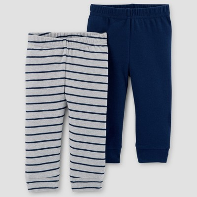 Baby Boys' 2pk Solid/Stripe Pants - Just One You® made by carter's Gray/Navy 3M