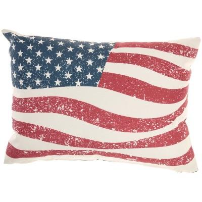 "14""x20"" Oversize Reversible Indoor/Outdoor Wavy American Flag Lumbar Throw Pillow - Mina Victory"
