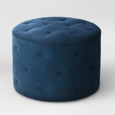 Caroline Tufted Ottoman Velvet Navy - Threshold™