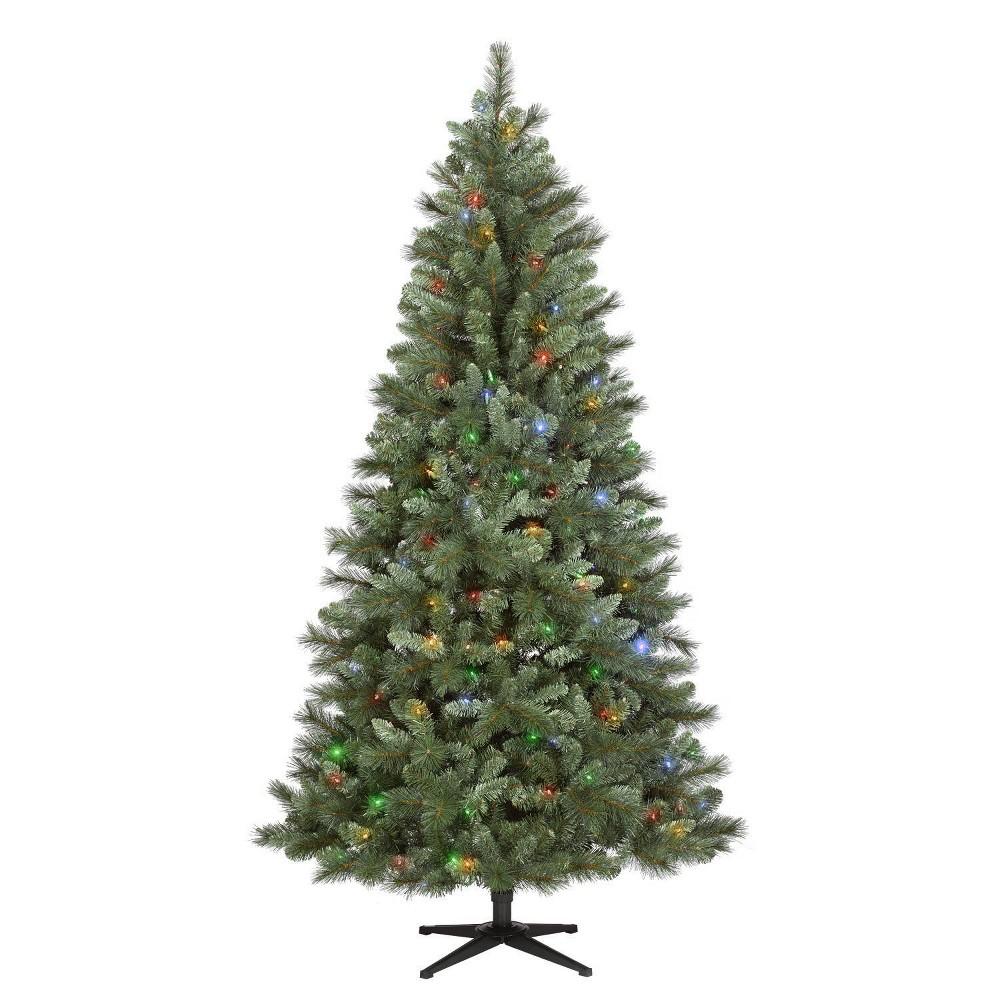 Image of Philips 7ft Pre-lit Artificial Christmas Tree Douglas Fir Auto Connect Bi-color Lights, Green