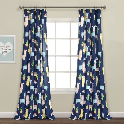 "52""x84"" Make A Wish Southwest Llama Cactus Window Curtain Panels Set Navy - Lush Décor"