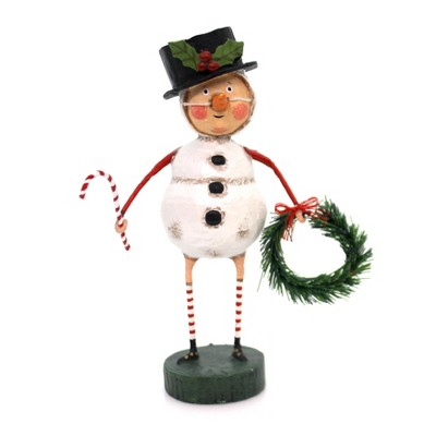 """Lori Mitchell 6.25"""" Chilly Willy Candy Cane Wreath Snowman  -  Decorative Figurines"""