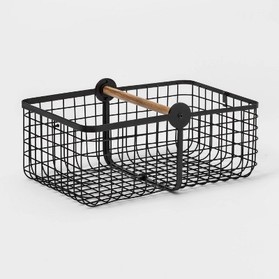 Metal 2-in-1 Wire Basket with Wood Handle Black - Threshold™