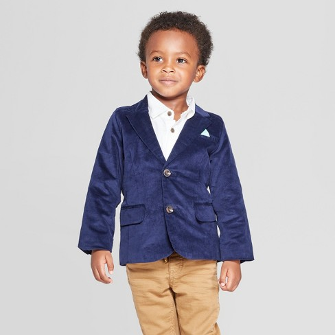 Toddler Boys' Velvet Blazer - Cat & Jack™ Navy - image 1 of 3